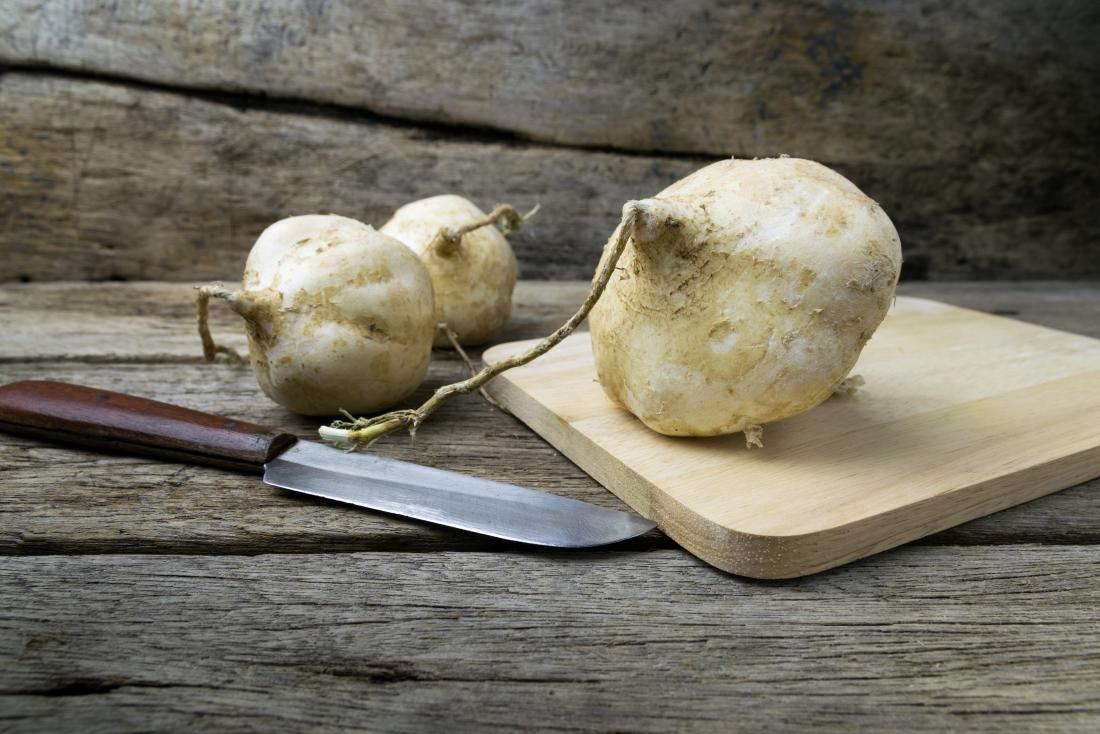 jicama on a wooden board