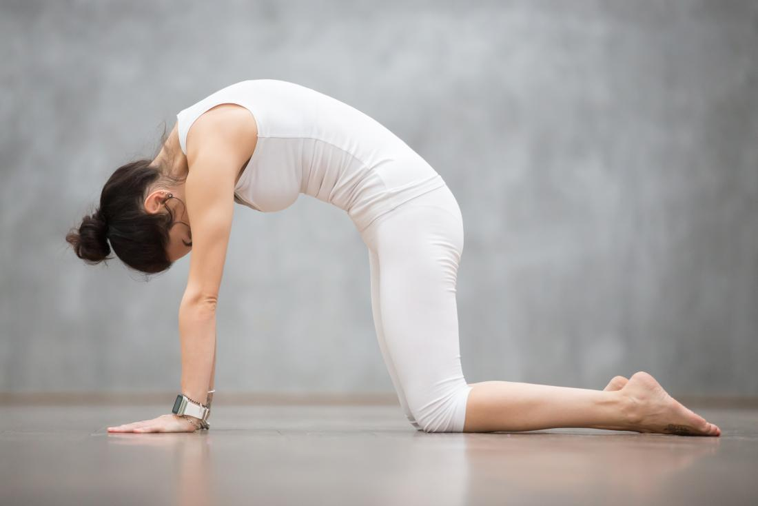 Person performing cat stretch yoga pose arching back
