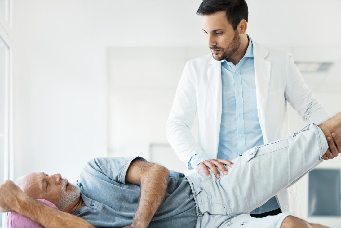 Man in physical therapy for hip movement