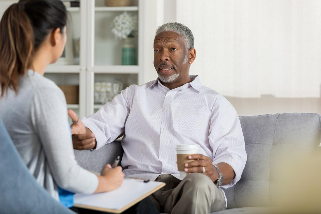 Man discussing types of bipolar with counselor or therapist.