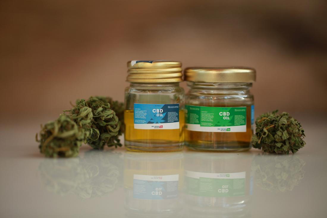 CBD oil in jars which may help menopause symptoms