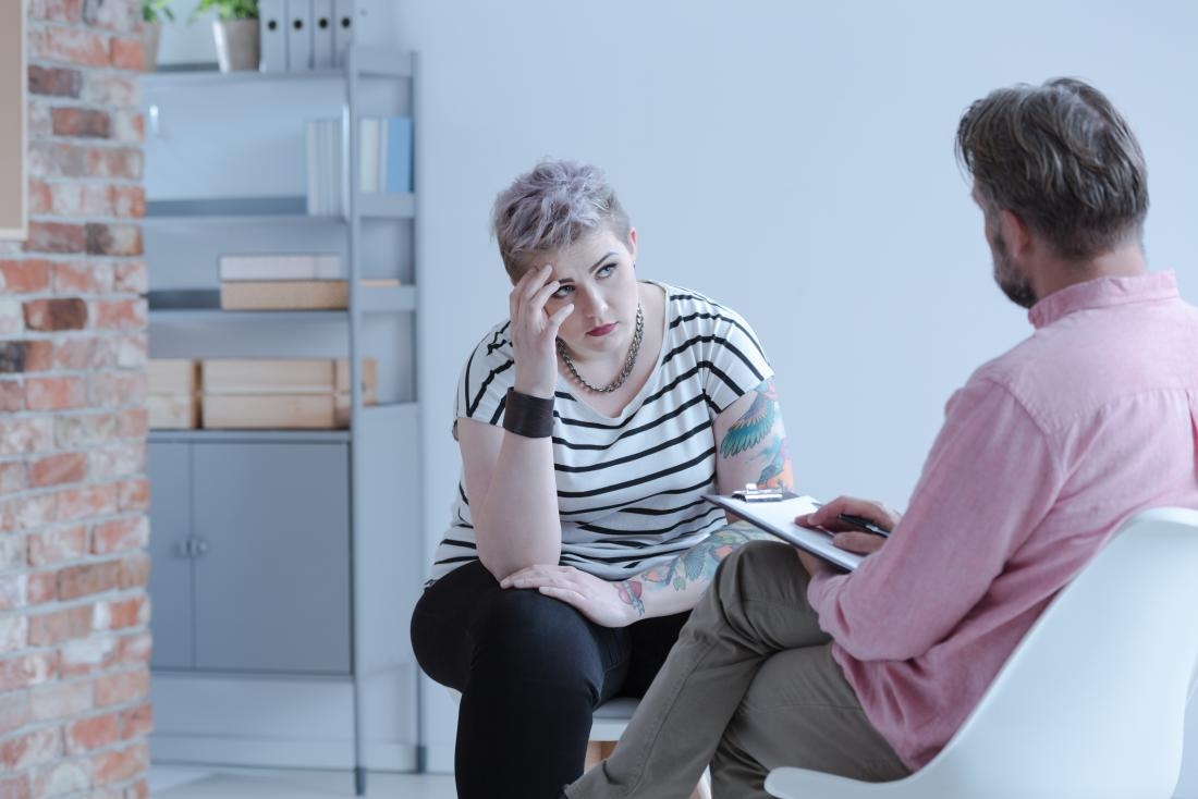 Woman having therapy or counseling with psychiatrist