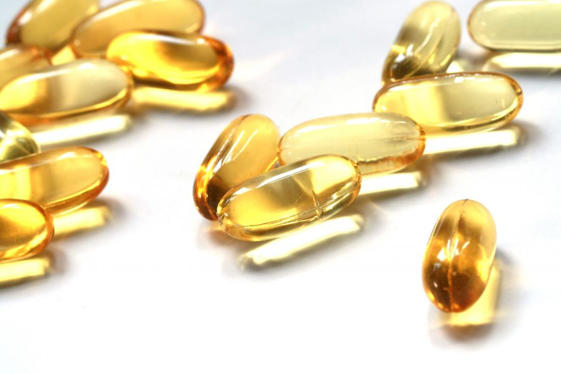 Oil supplement vitamin capsules.