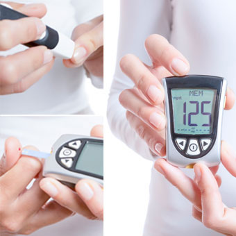 Glycemia collage consisting of a finger prick, blood drop in a reactive strip and a glucometer with a correct value.