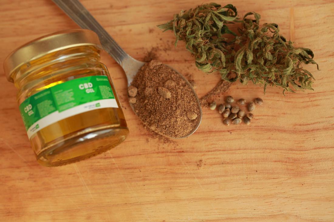 CBD oil and cannabis plant