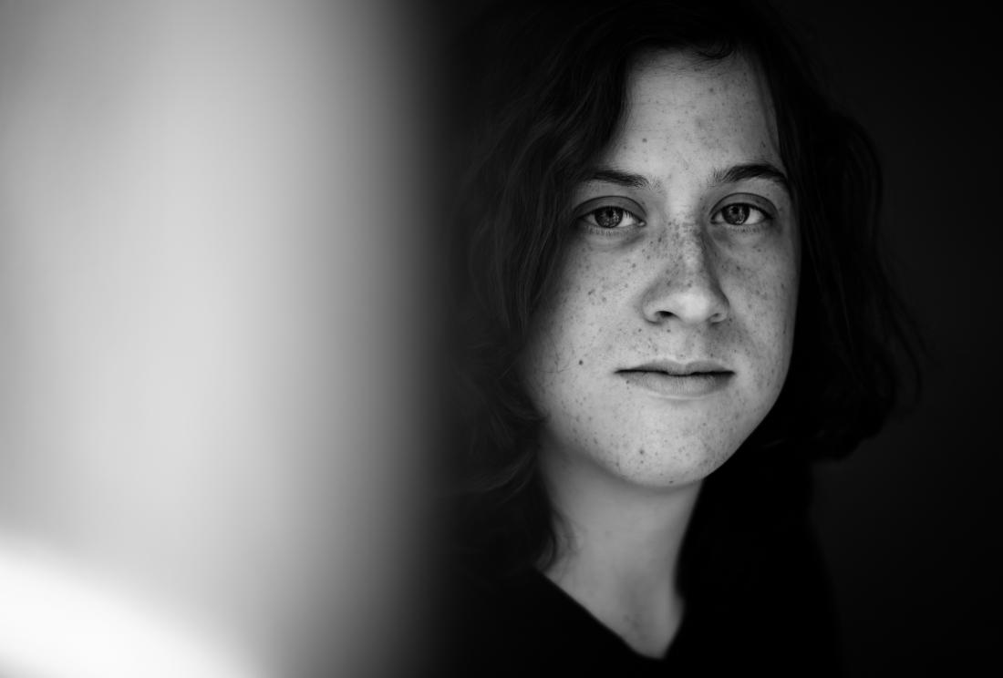 black and white portrait of person