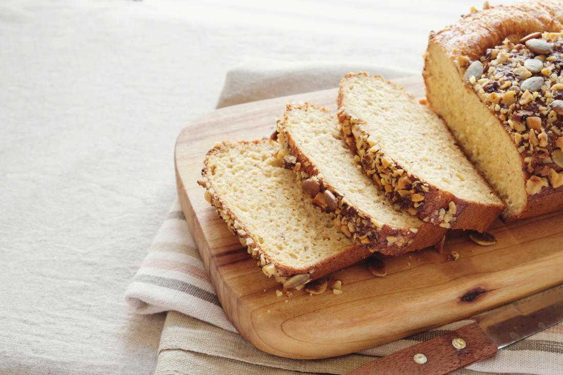 Sliced bread on a chopping board