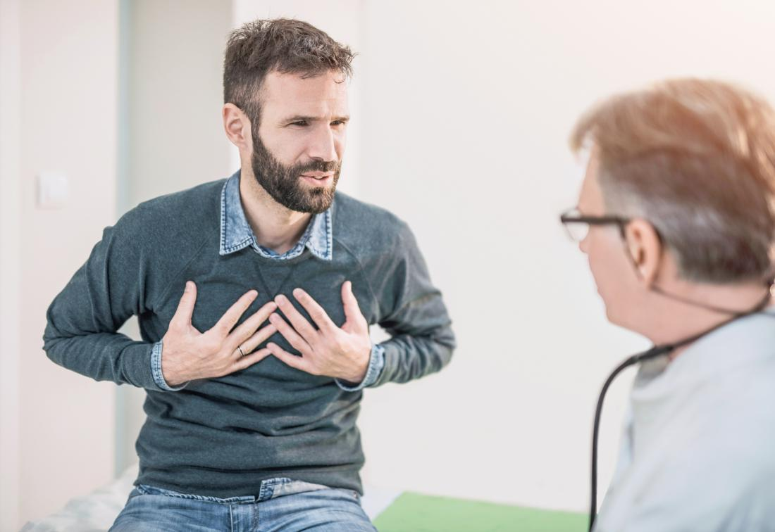 Man with obstructive lung disease describes tightness in chest to doctor.