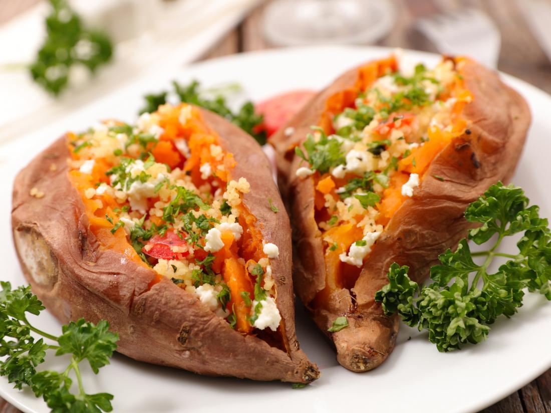 Fully loaded sweet potatoes