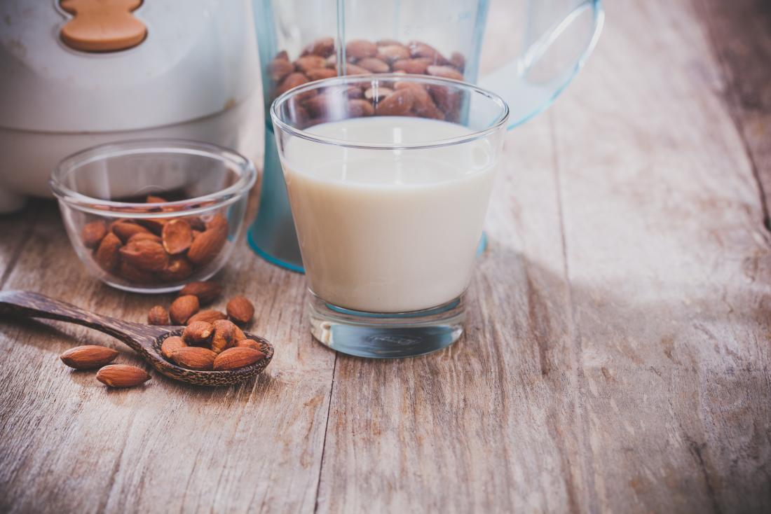 Almond milk on a table