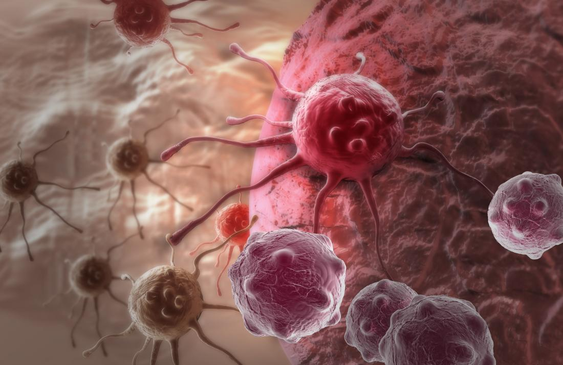 Cancer cell illustration red
