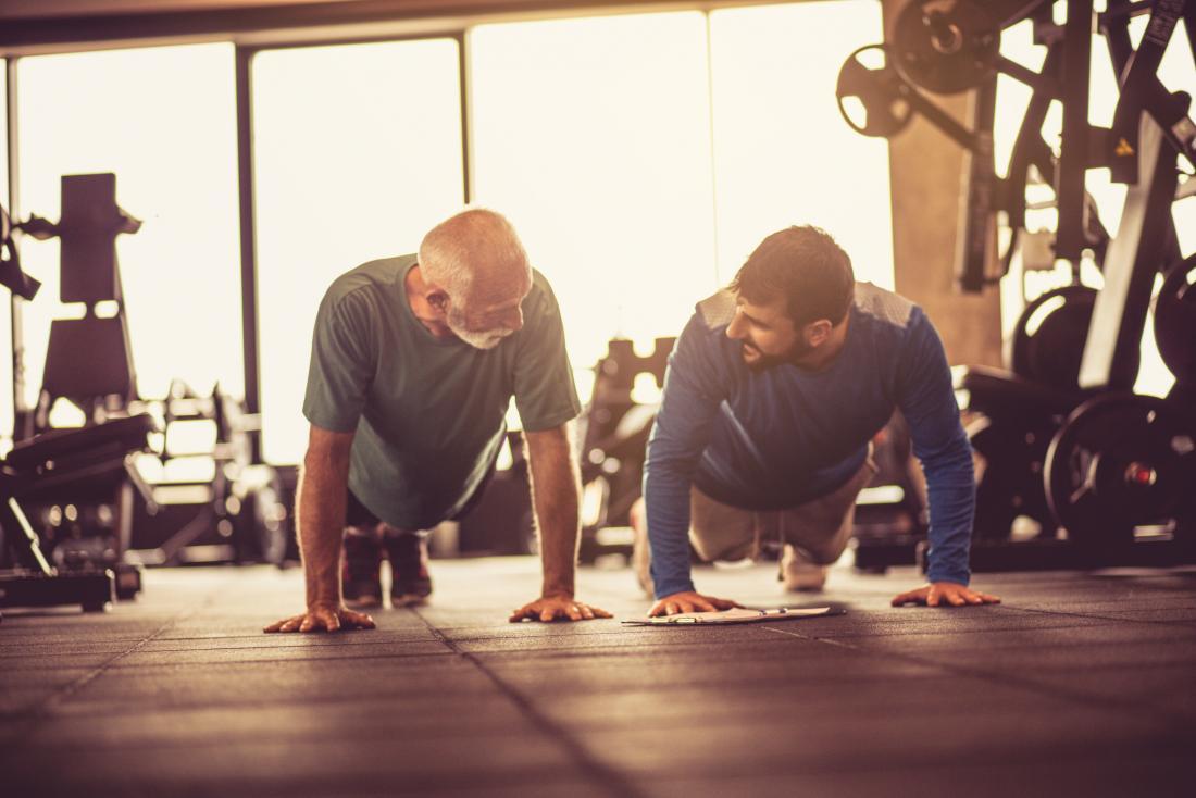 two men exercising