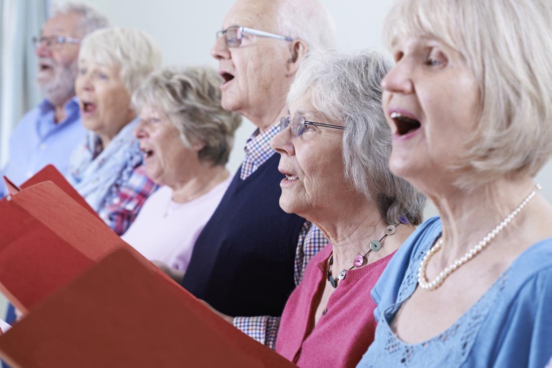 Older adults singing
