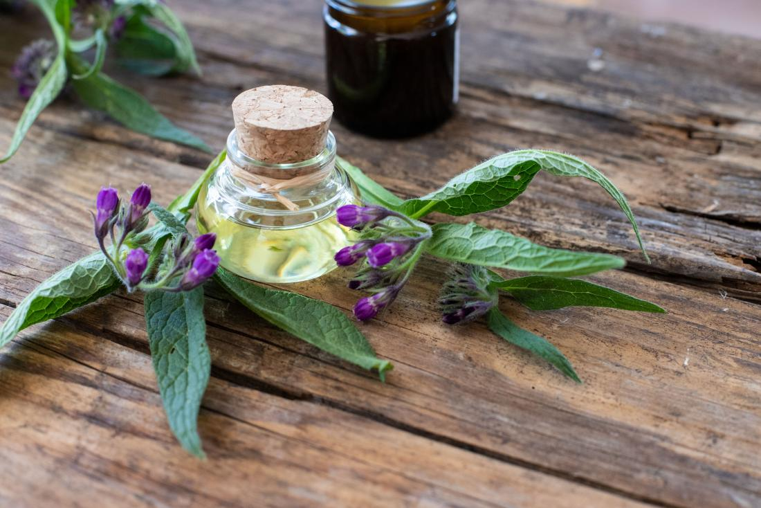 Comfrey plant and flower on wooden table with oil in bottle