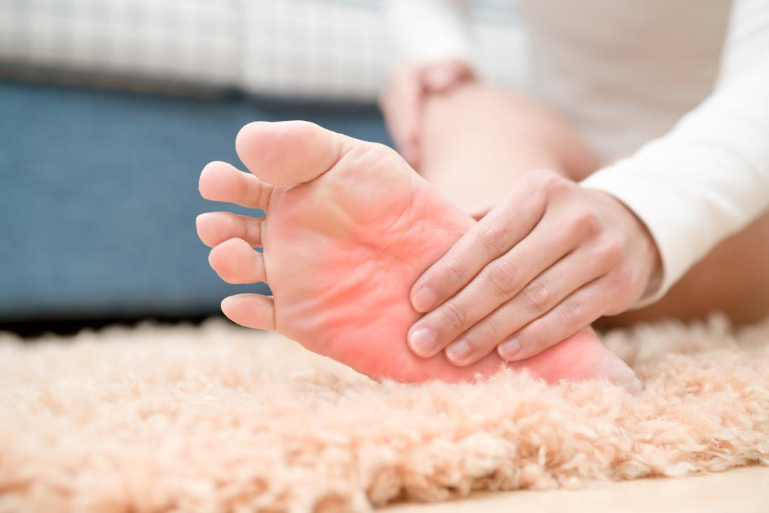 Holding the foot due to psoriatic arthritis