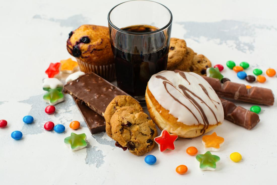 selection of products high in sugar