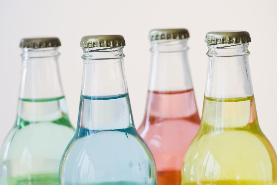 bottles with colorful drinks