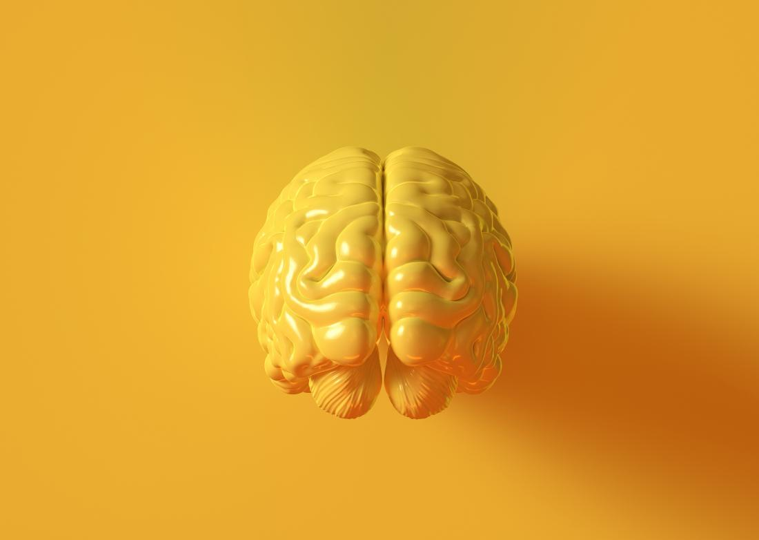 concept image showing a yellow brain