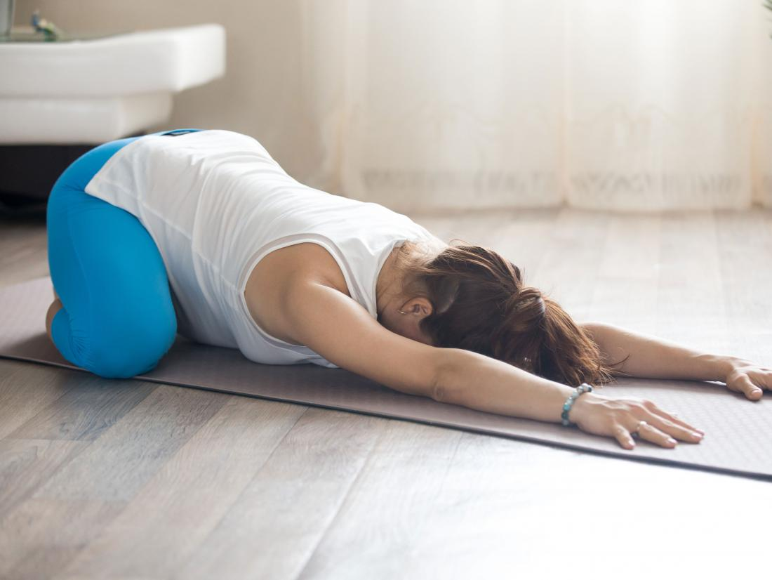 Childs pose yoga move for sciatica pregnancy stretch
