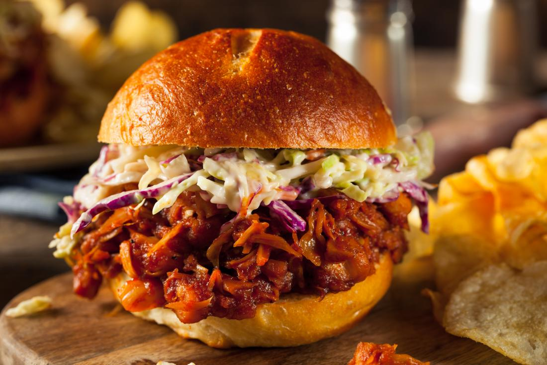 Pulled jackfruit vegan burger with coleslaw
