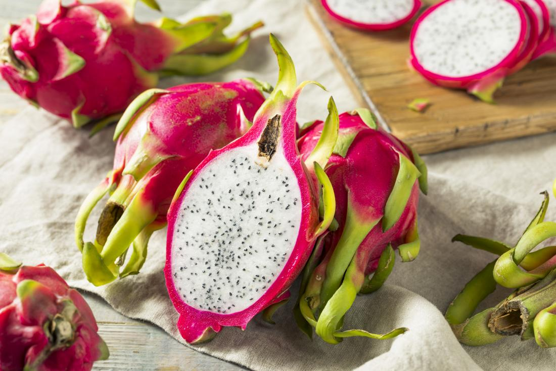 Dragon fruit on a table