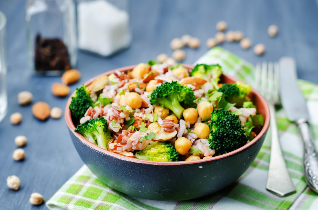 chickpea and vegetable salad bowl.