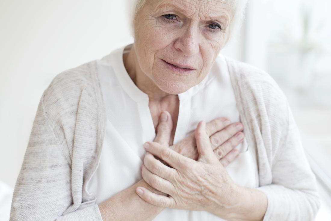 woman pressing her chest