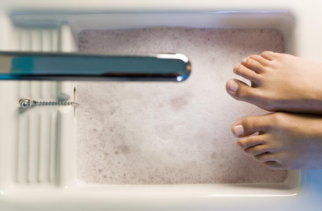 Person having foot spa soak