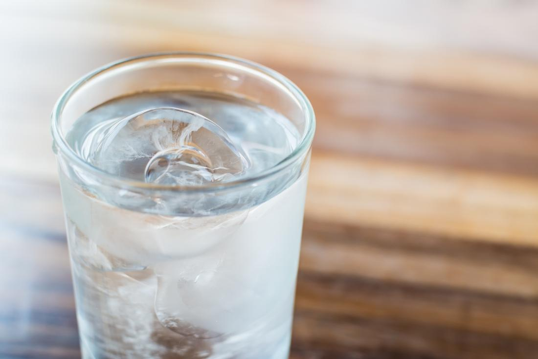 Ice cold water in a glass
