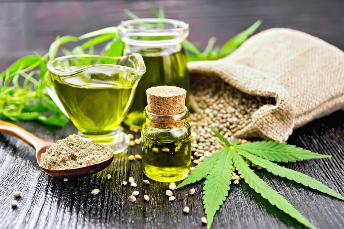 marijuana oil and leaves