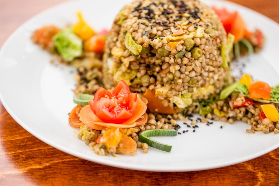 Buckwheat whole grain and vegetable meal.
