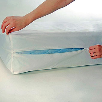 A person seals their mattress with a bedbug-prevention casing.