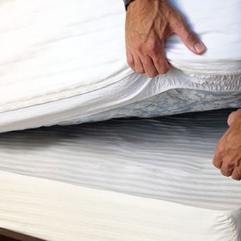A man checks his box springs and under his mattress for bedbugs.