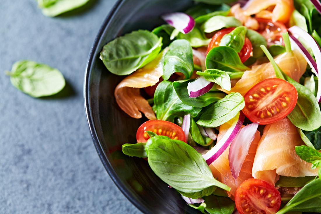 example of DASH diet with salad and salmon