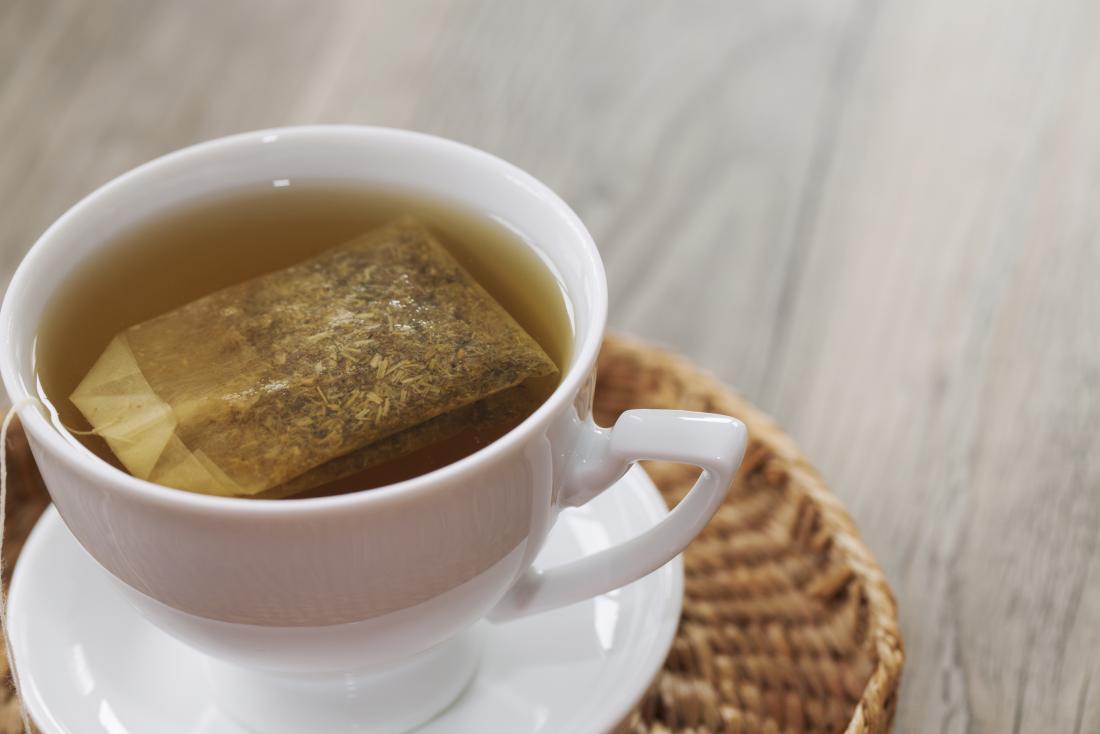 herbal tea bag in mug