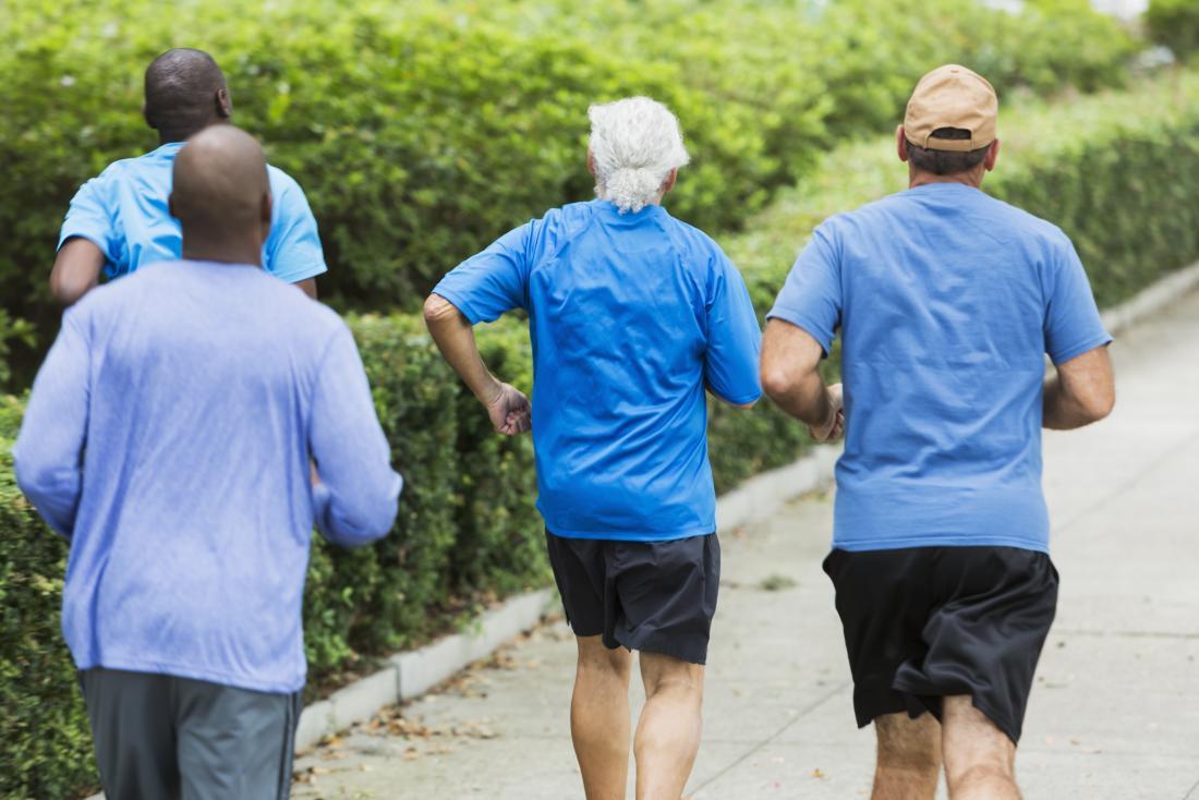 group of men jogging