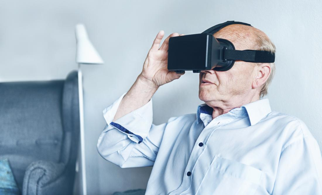 Older adult using VR