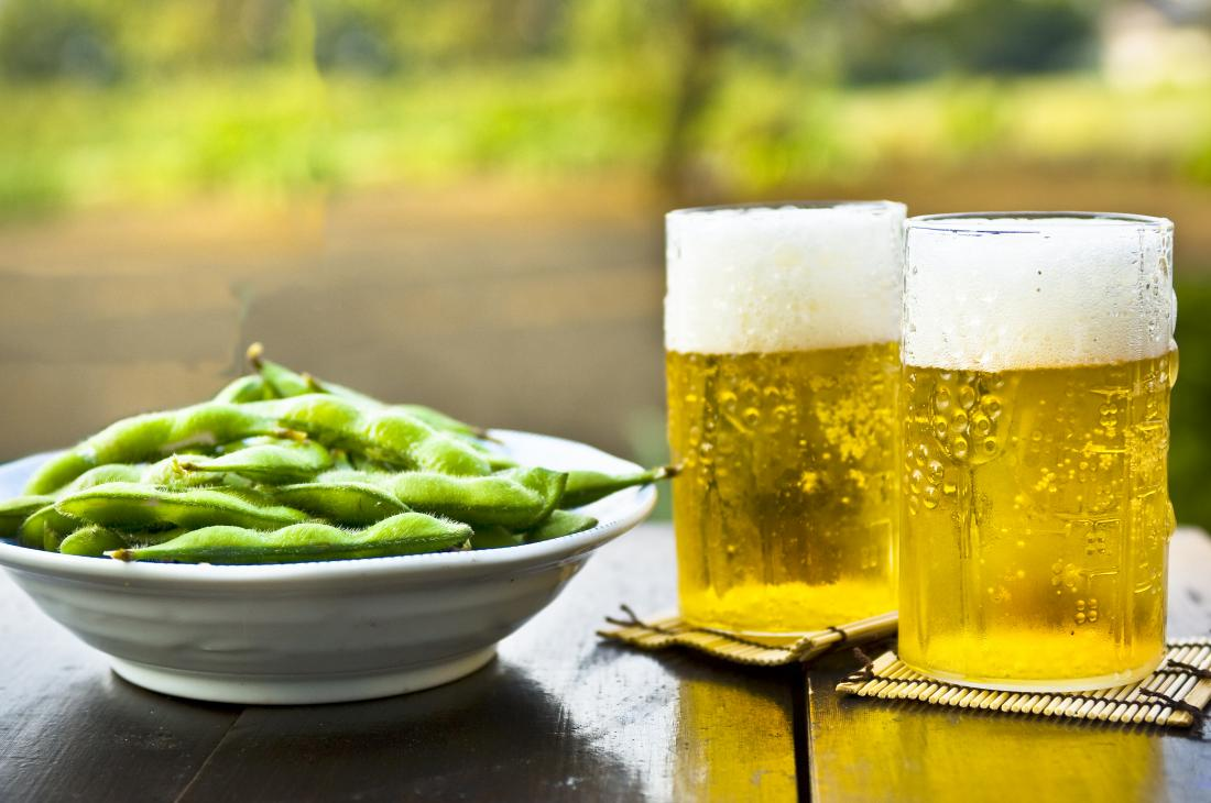 edamame and beer on a table are foods that kill testosterone