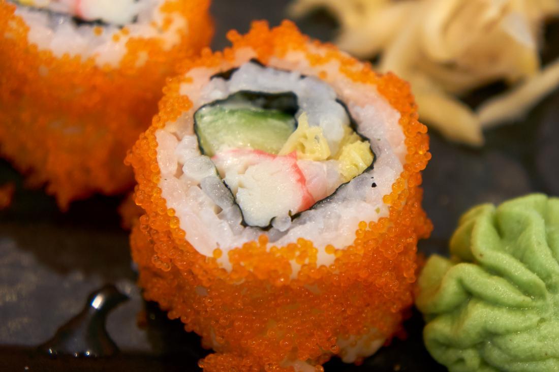 Tobiko fish roe in sushi