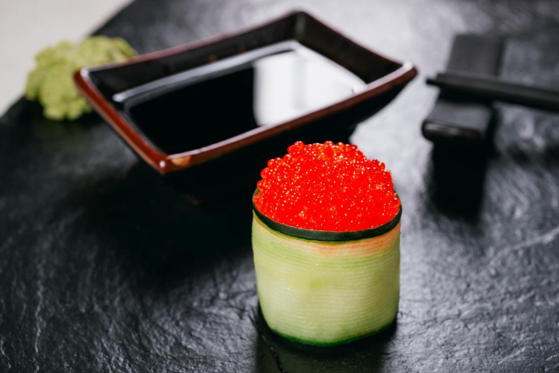 Tobiko fish roe in restaurant