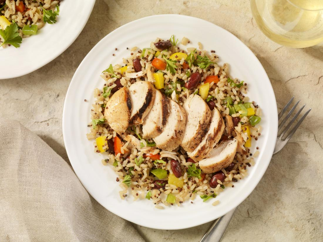 plate with chicken brown rice and quinoa salad