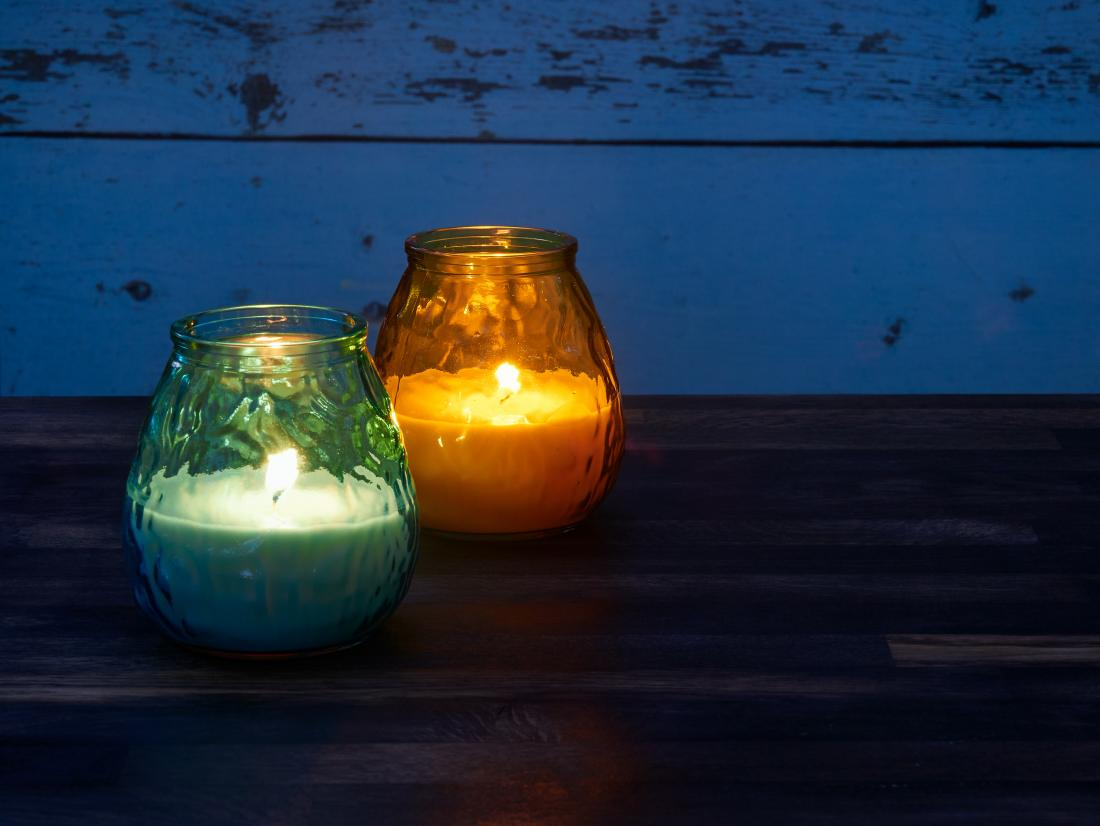 Citronella candles that are a natural mosquito repellent