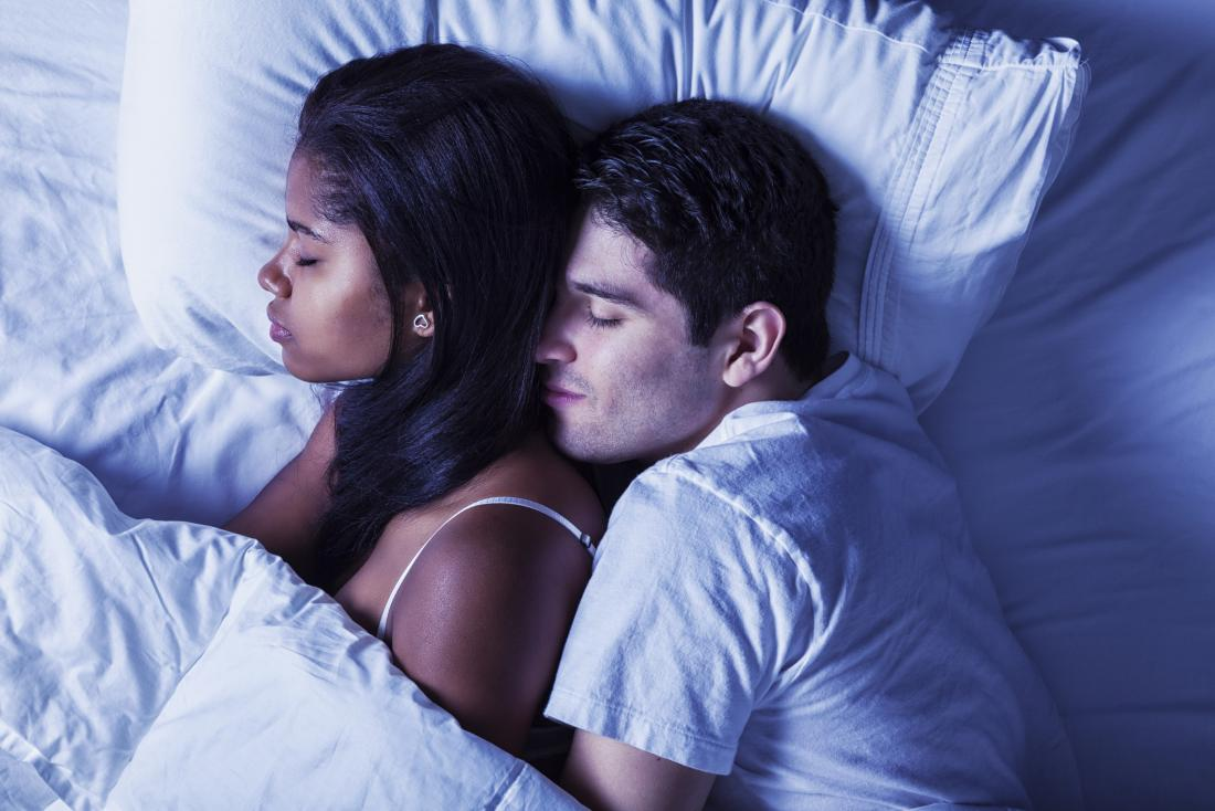 Couple in bed having a deep sleep