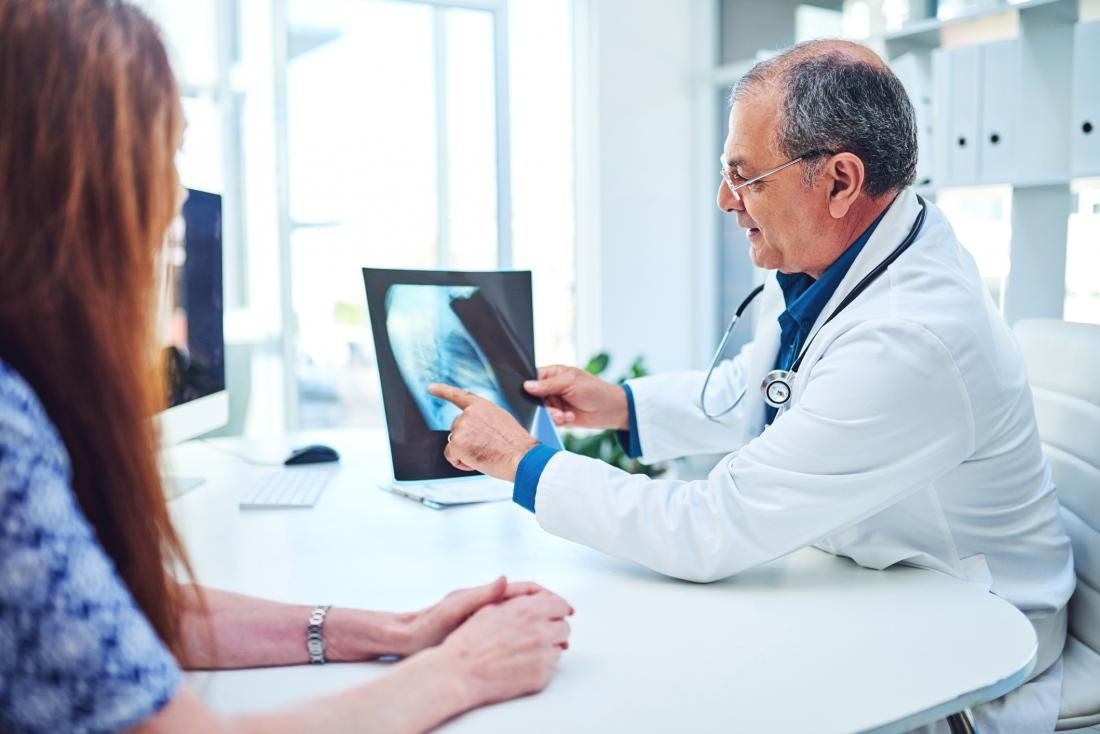 Doctor and patient with breast scan