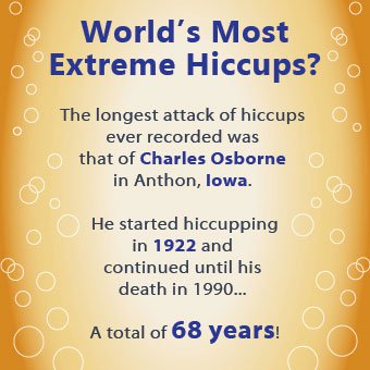 An infographic about the longest case of the hiccups ever recorded.