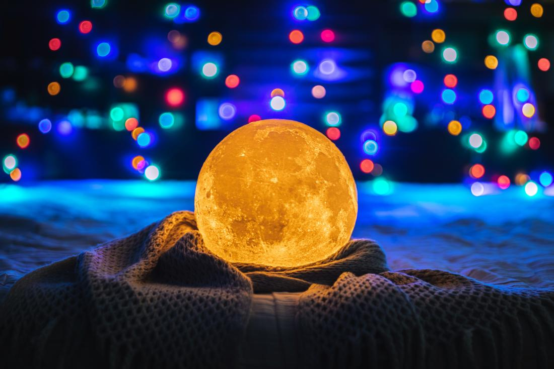 photo of a moon lamp