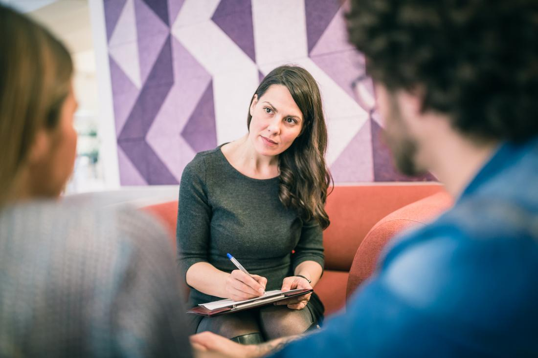 therapist talking to couple