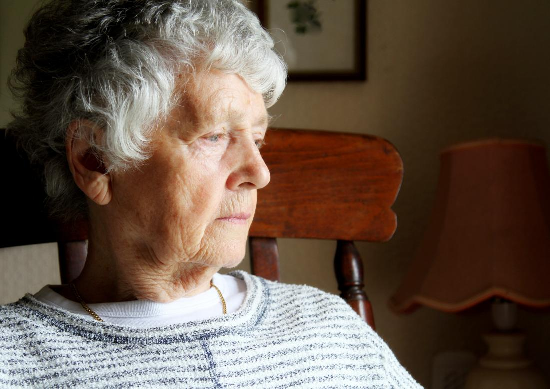 older woman looking into the far distance