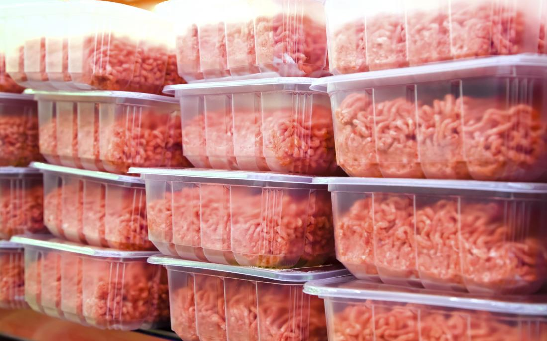Ground beef in tubs