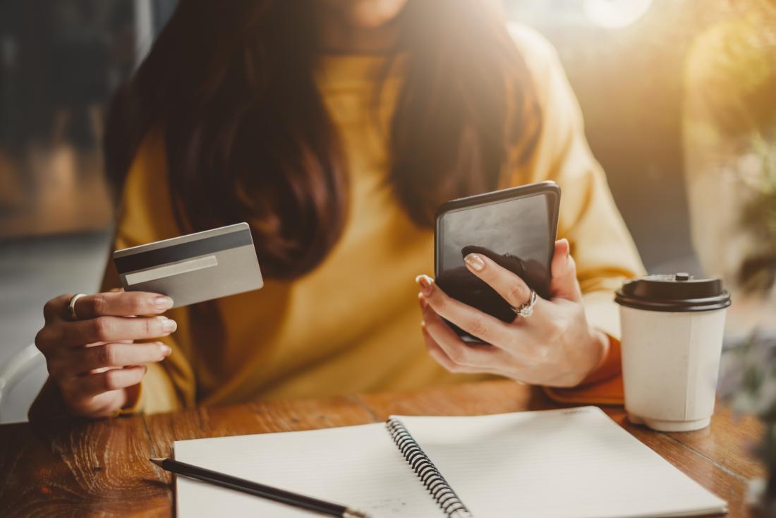 Woman internet shopping